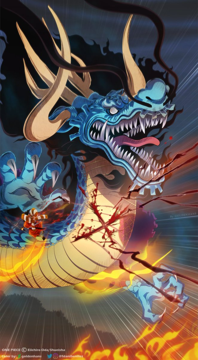 One Piece cap. 970 ¡¡Tu cuello es el único que quiero cortar!!. Estilo de las dos espadas de Oden:  ❌¡¡TOUGEN TOKKA!!❌.  🖌😃👍