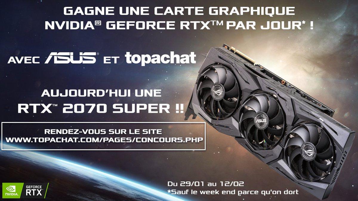 🎁 #Concours 🎁  Gagne une carte graphique Nvidia RTX par jour ! 😱🔥  On démarre bien la semaine avec la RTX 2070 SUPER ROG STRIX !  Pour participer, RDV ici ⬇    🍀 Tirage au sort le 04/02 à 11h30