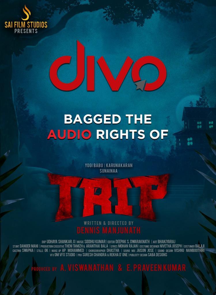 Very happy to inform that @divomovies has bagged the Audio rights of #Trip 😊  @studios_sai @iYogiBabu @TheSunainaa #Karunakaran  @PraveenSurviver @vjrakeshkm @VJSiddhu2 @nivethajoseph @Music_Siddhu @DeepakDFT @dennisfilmzone @Vishwa_SFS   @SureshChandraa @ProRekha @DoneChannel1