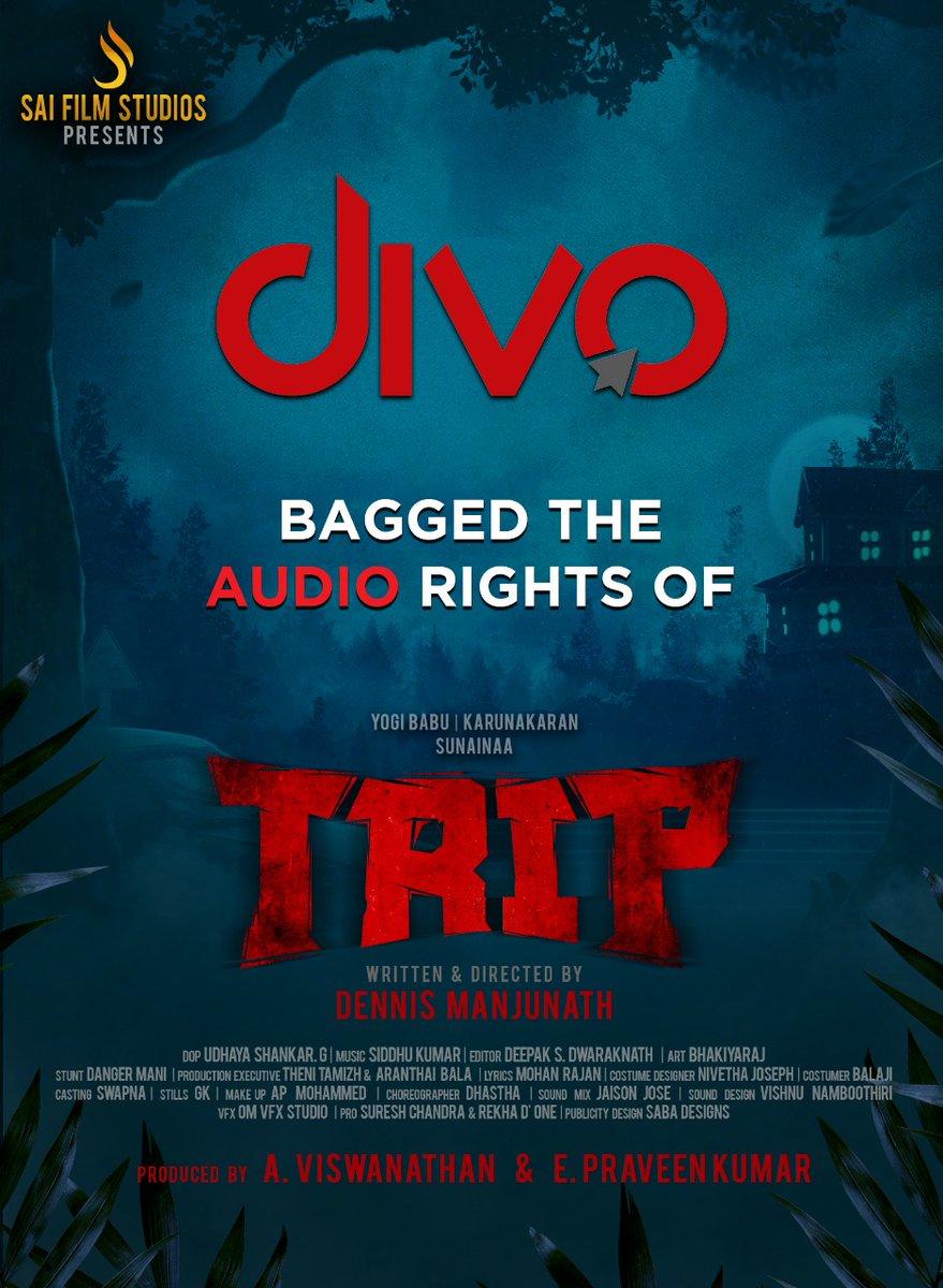 #Trip Audio rights bagged by @divomovies  @studios_sai @iYogiBabu @TheSunainaa #Karunakaran  @PraveenSurviver @vjrakeshkm @VJSiddhu2 @nivethajoseph @Music_Siddhu @DeepakDFT @dennisfilmzone @Vishwa_SFS   @SureshChandraa @DoneChannel1