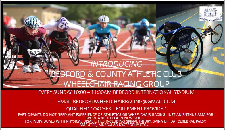 Ever wanted to try #WheelchairRacing ? 📅 Sunday 10.00 and 11.30am 📌Bedford International Athletic Stadium   All equipment is provided Ran by qualified coaches  💻Further info bedfordwheelchairracing@gmail.com or just turn up #ActiveBedfordshire @wheelpower