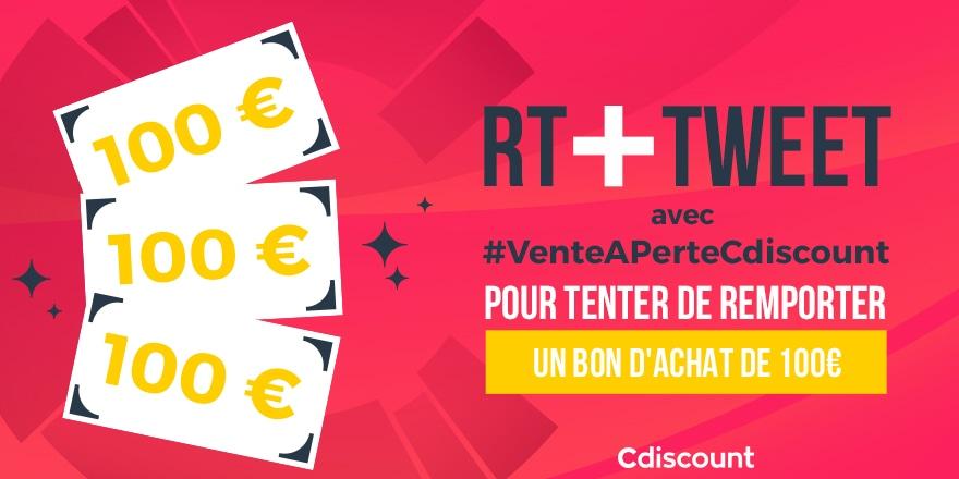 🎁 #Concours   On vous offre 3 bons d'achat de 100€ pour profiter des ventes à perte sur Cdiscount ➡   🔸 Pour tenter ta chance :  RT + #VenteAPerteCdiscount  3 gagnants le 29/01 ➡