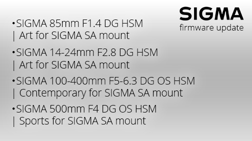 New firmware update for #SIGMA's interchangeable lenses for SIGMA SA mount is now available.