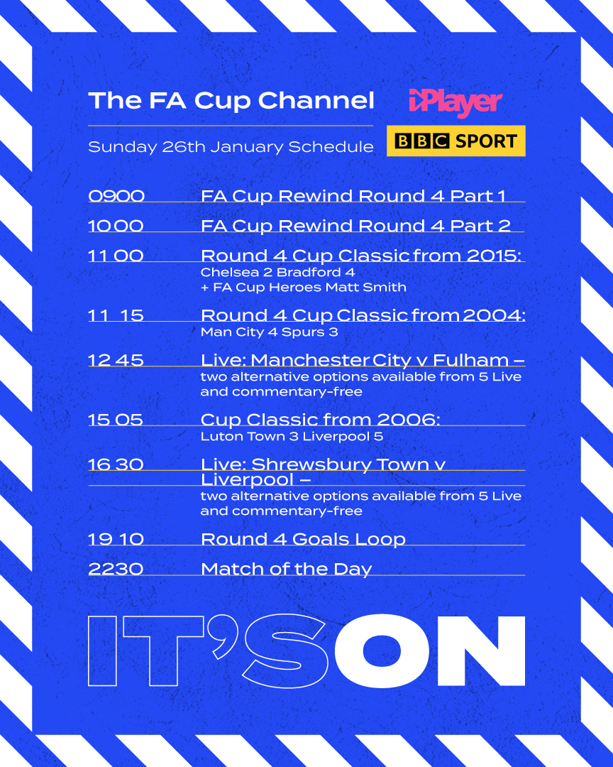 The FA Cup Channel. Streaming all weekend only on BBC iPlayer.