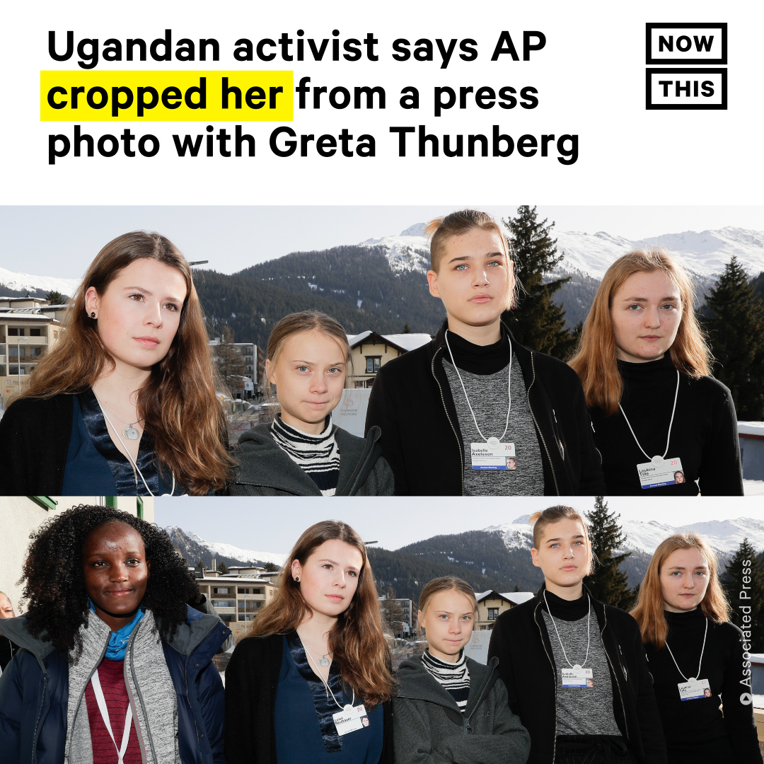 Ugandan climate activist Vanessa Nakate took to Twitter to call out the Associated Press for choosing a photo of Greta Thunberg at Davos for an article that cropped Nakate out and only included other white activists.