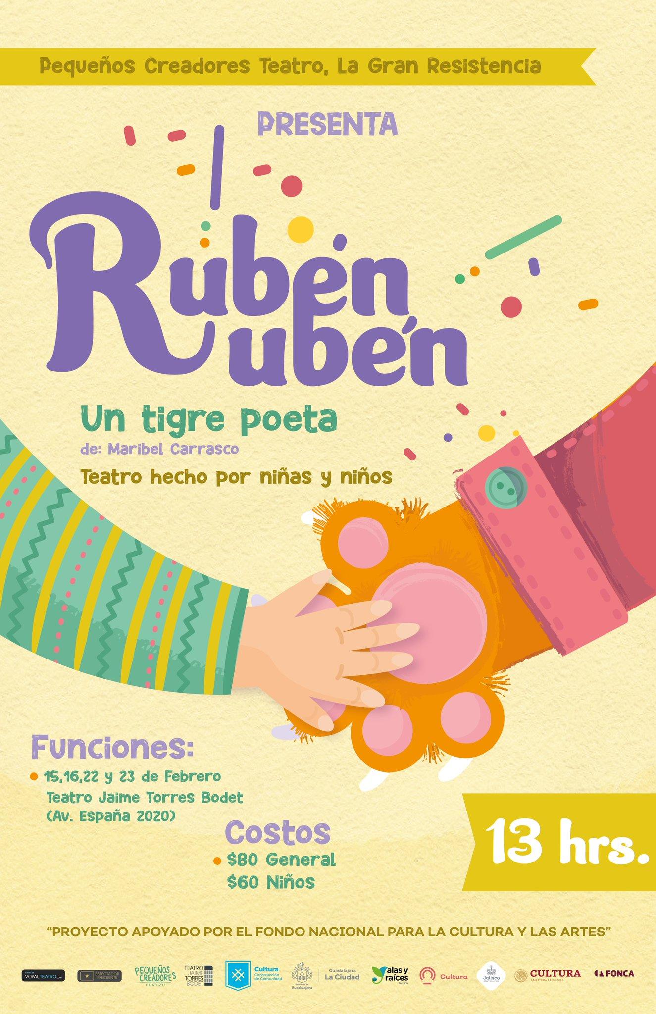 Próximamente✨  Rubén Rubén es el poeta del pueblo, cada sábado reúne a la gente debajo de un árbol para contartes sus historias, porque a nadie, en ningún lugar del mundo debe faltarle una buena historia.  Del 15 al 23 de febrero‼️ ⏰Sáb y Dom, 13 h https://t.co/OEI9ScEz0u