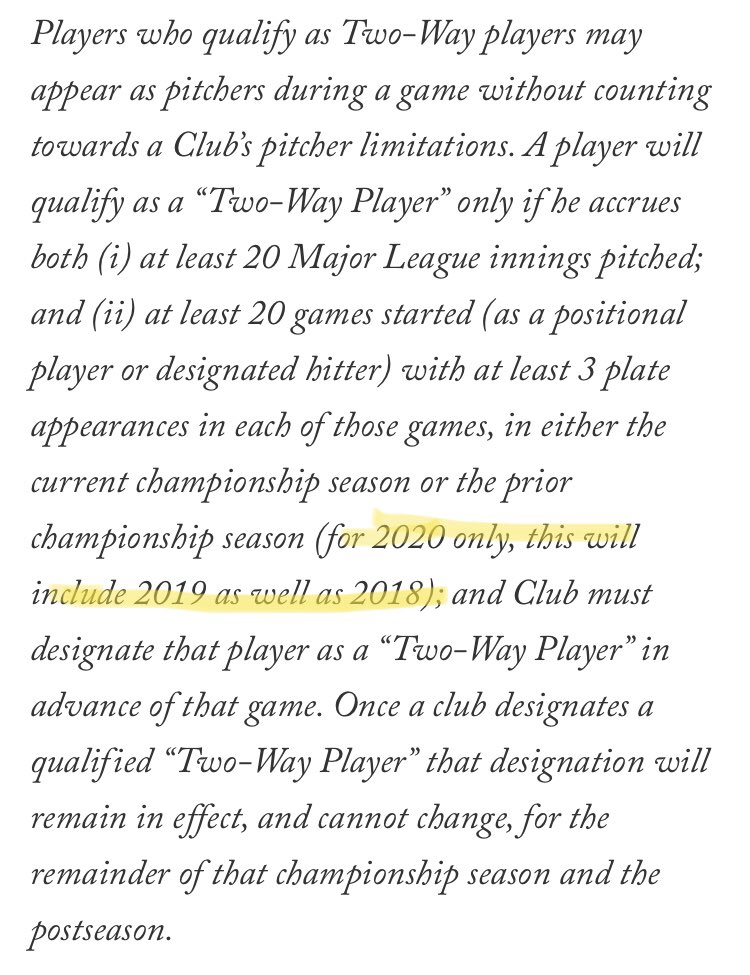 """Billy Eppler suggested at the winter meetings that this rule tweak was coming, and according to this @pgammo story, it has. Essentially, it is to accommodate Ohtani, who didn't pitch in 2019 because of TJ. Now he can be classified a """"2-way player"""" from Opening Day in 2020. https://t.co/BJKFGk5vWS"""