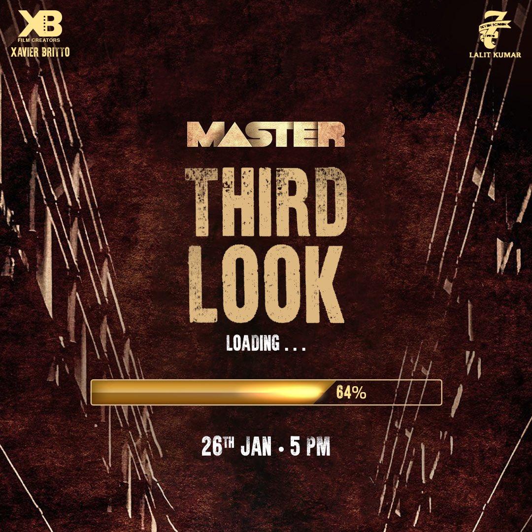 #MasterThirdLook at 5pm tomorrow #Thalapathy #MakkalSelvan