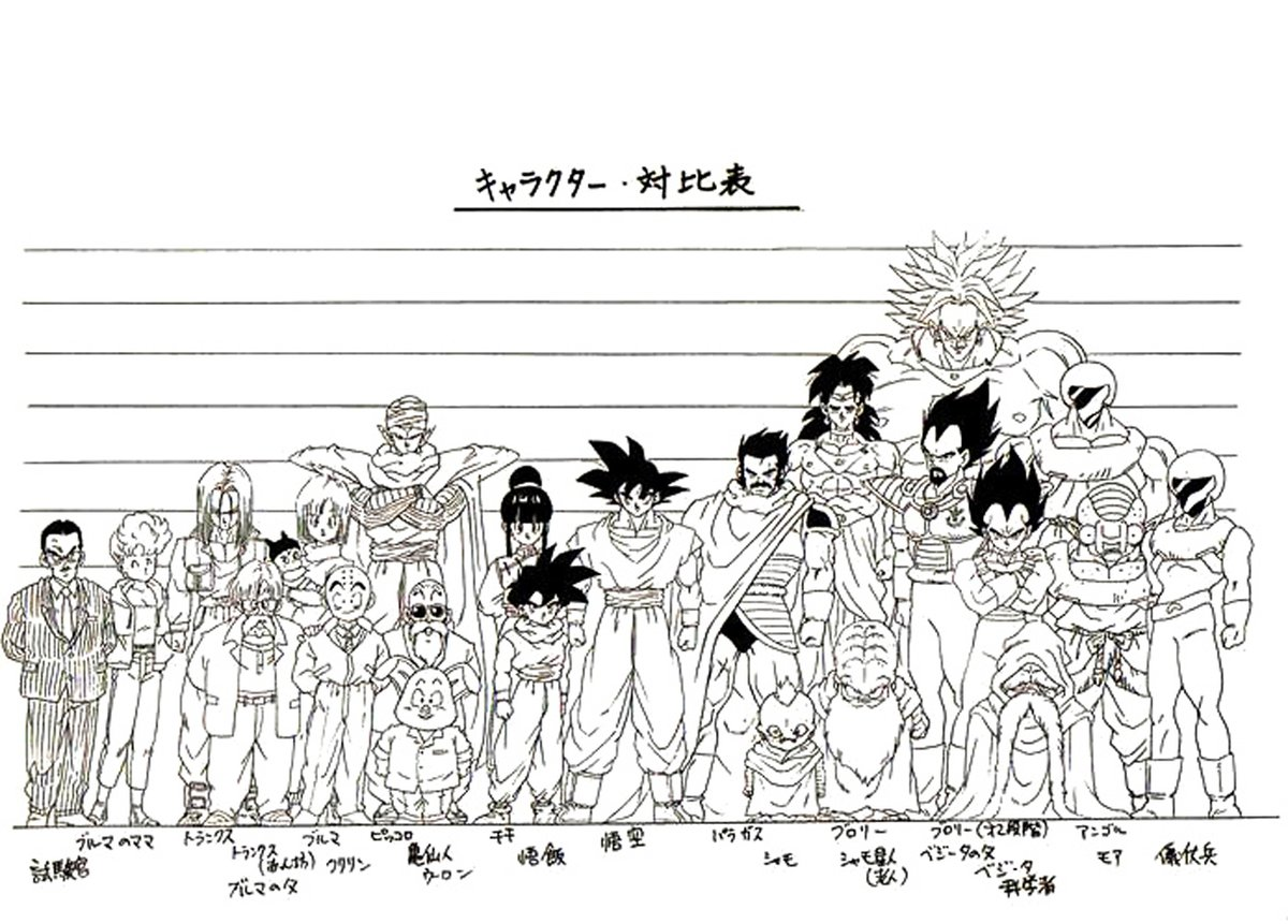 I think that this is the only height chart where Vegeta is shorter than Bulma