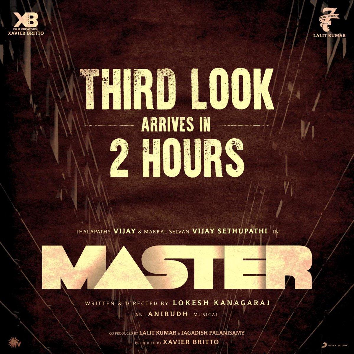 The wait is almost over!   What's the excitement level like Nanba? 😉   #Master #MasterThirdLook  @actorvijay @VijaySethuOffl @Dir_Lokesh @anirudhofficial @jagadishbliss @Lalit_sevenscr @imKBRshanthnu @MalavikaM_ @andrea_jeremiah @gopiprasannaa