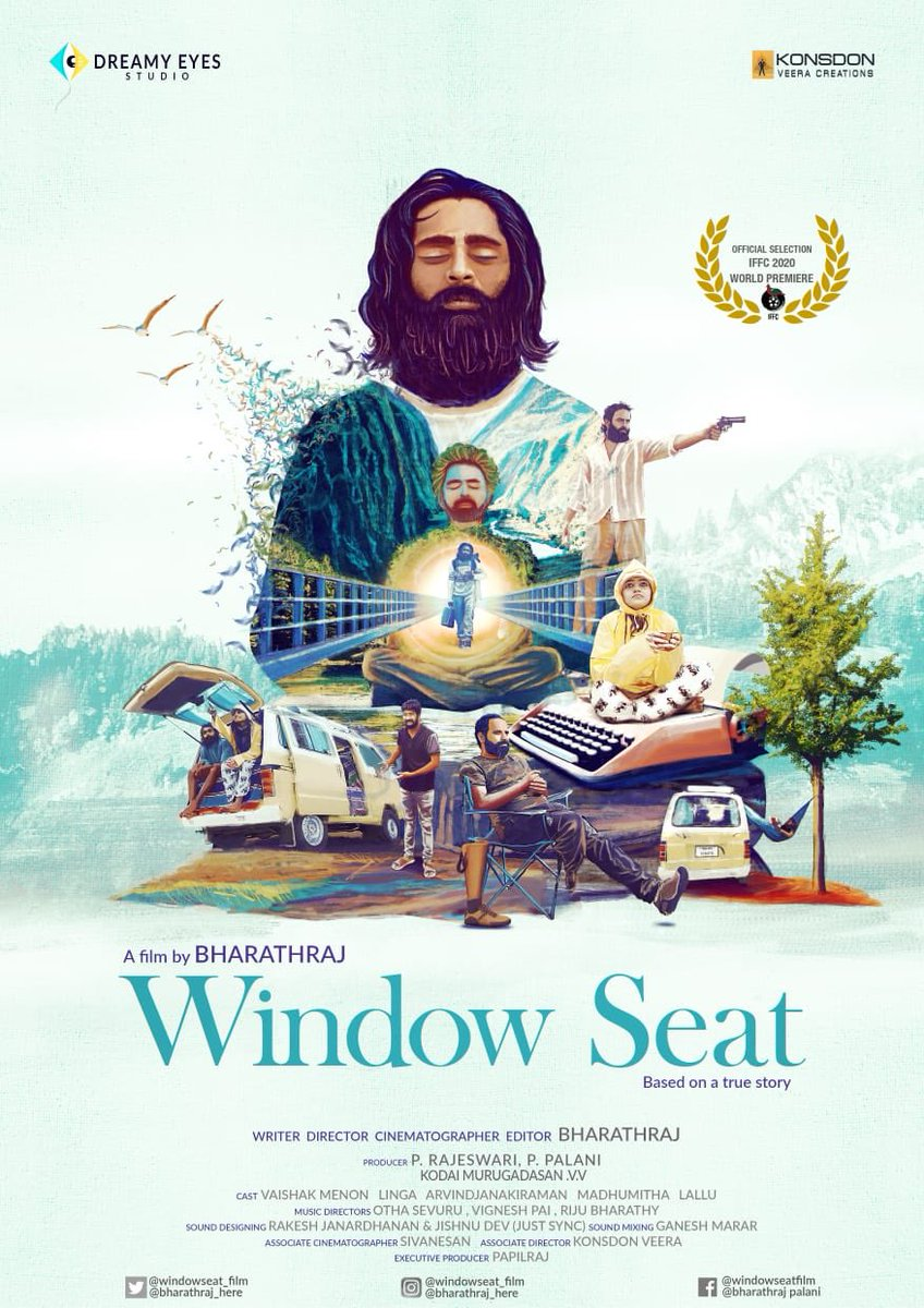 What a lovely poster! It speaks.   The title WINDOW SEAT and this poster makes me really curious.  Hoping to see a good film from @Bharathraj_here & his team.   Vazhthugal!   #WindowSeat ☝️