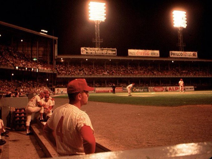 Color shot of cool night and packed house at Connie Mack Stadium (formerly, Shibe Park) , c. 1964. #Phillies https://t.co/h1wSWAY5F9