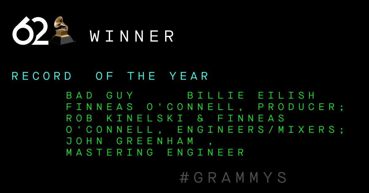 "Congrats Record Of The Year Winner - ""Bad Guy"" @billieeilish #GRAMMYs"