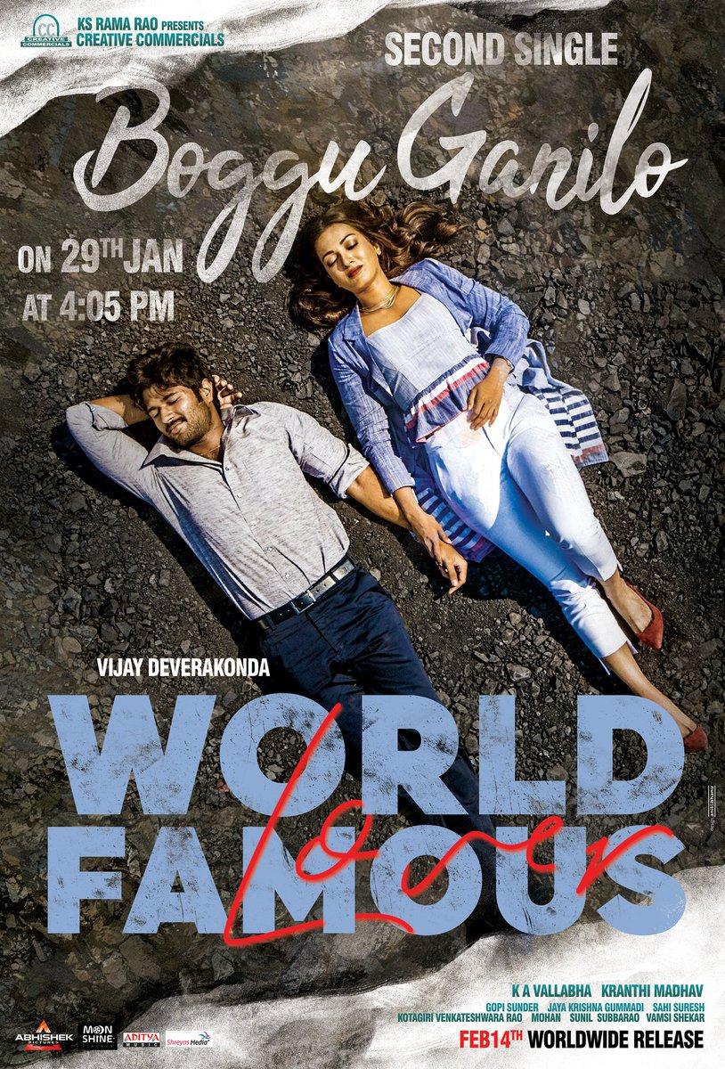 #BogguGanilo song from #WorldFamousLover will be on your playlists from 29th Jan @ 4:05 PM 🎶  @TheDeverakonda @RaashiKhanna @izabelleleite25 @aishu_dil @ksramarao45 #Kranthimadhav #KAVallabha @GopiSundarOffl @adityamusic @CCMediaEnt  #WFLonFeb14