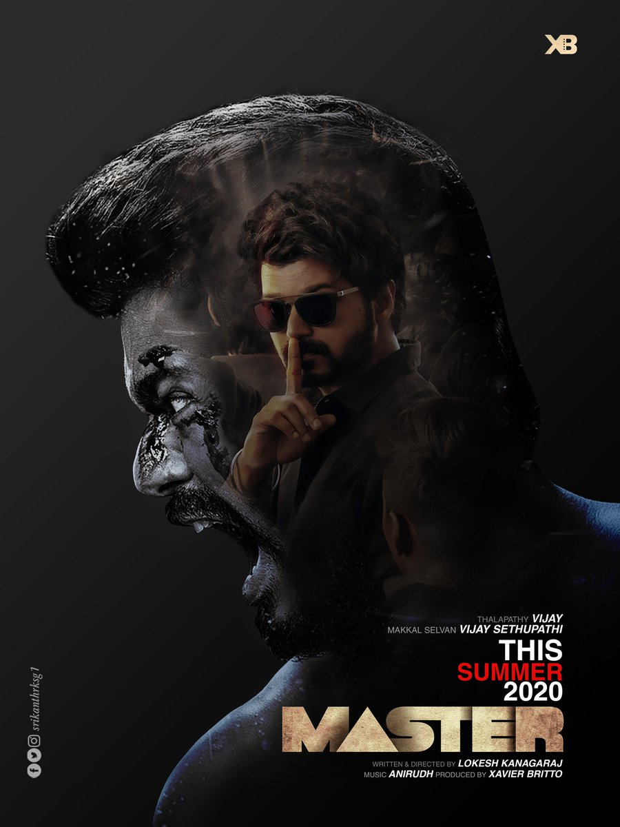 Here it is.. After so long work for thalaivar 💯 Work from @srikanthrksg1  #MasterThirdLook #Master #Vijay #Thalapathy  @actorvijay @anirudhofficial @Dir_Lokesh @XBFilmCreator @gopiprasannaa @VijaySethuOffl