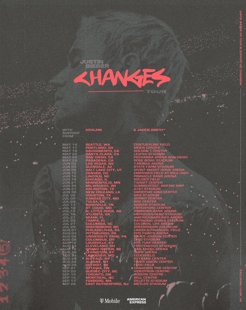 #ChangesTour. Bringing @kehlani @jaden   Presented by @TMobile  @AmericanExpress #AmexPresale Thurs 1/30 10am thru Thurs 2/13 10pm