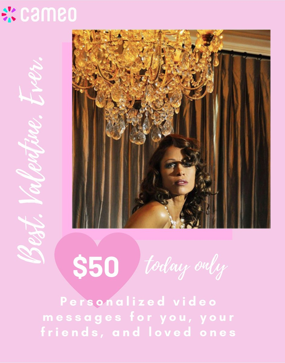 Valentine's Day is coming soon! I'm so excited and honored to help spread the love this February! And now, you can take advantage of a very special #ValentinesDay Deal! Today only, you can request a #Cameo by me for just $50!