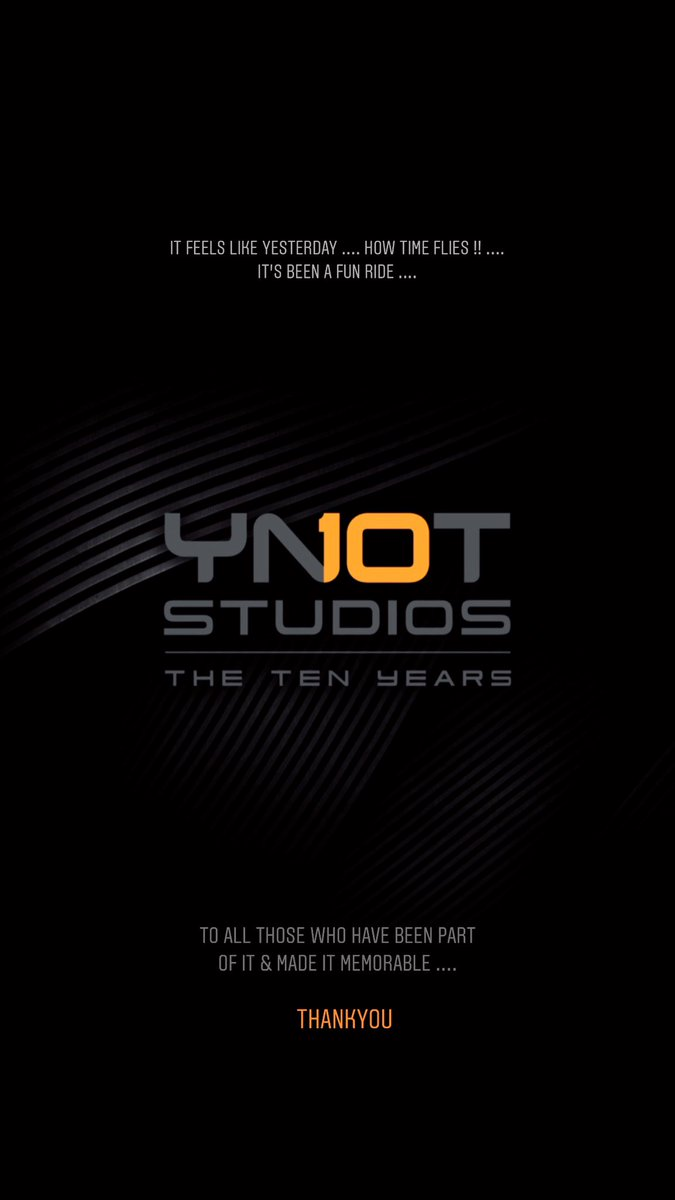 #10yearsofYNOT  There have been ups & down, like any ride should be .... but it's been full filling & fun. To all those of you who have been part of it, specially during the low times .... ThankYou 🙏🏼  Here's to the next 10 🥂  Cheers   @StudiosYNot