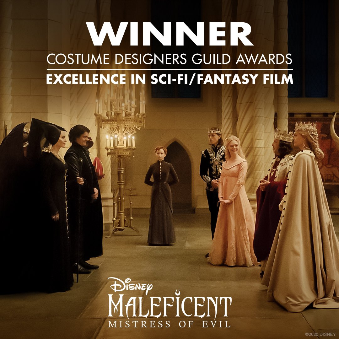 Congratulations to #Maleficent: Mistress of Evil for winning the Costume Designers Guild Award for Excellence in Sci Fi/Fantasy Film! #CDGA