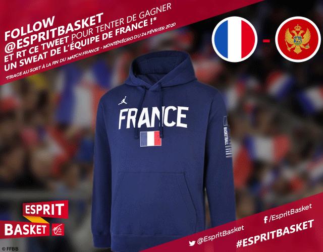 A l'occasion des qualifications à l'Euro 2021 pour les Bleus, on vous fait gagner un sweat de l'Équipe de France ! 🇫🇷  ➡️ Follow @EspritBasket  ➡️ Retweet ce tweet  Bonne chance ! 🤞 #VousEtreUtile