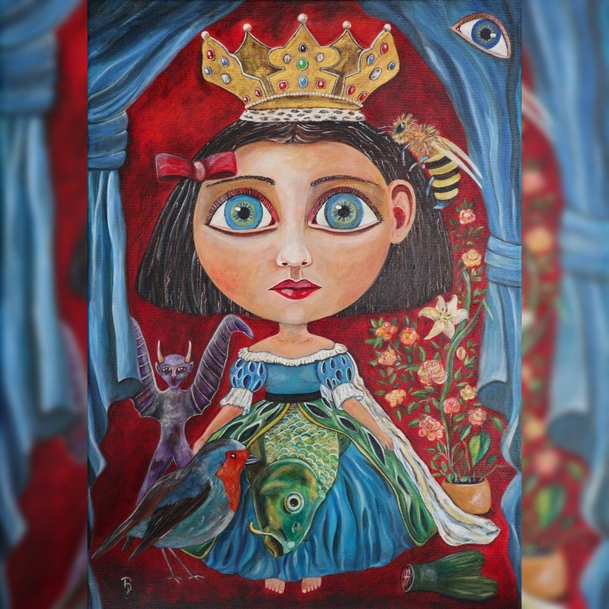 """Queen Big Head"" . . #QueenBigHead #Painting #Surrealism #Acrylic #Canvas #BarbaraJohannaBilleiter #Duckylemon #Painter #Artist #Germany #Bavaria #Franconia #Nuremberg #Fantasy #Instagram #Twitter #Queen #Fish #Robin #Bee #Demon #Eye #Curtain #Fishtail #Crown"