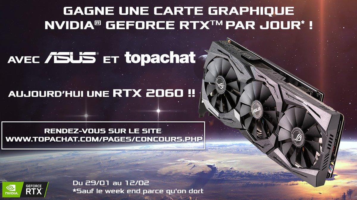 🎁 #Concours 🎁  Gagne une carte graphique Nvidia RTX par jour ! 😱🔥  Ça continue avec la RTX 2060 ROG STRIX !  Pour participer, RDV ici ⬇   🍀 Tirage au sort le 31/01 à 11h30