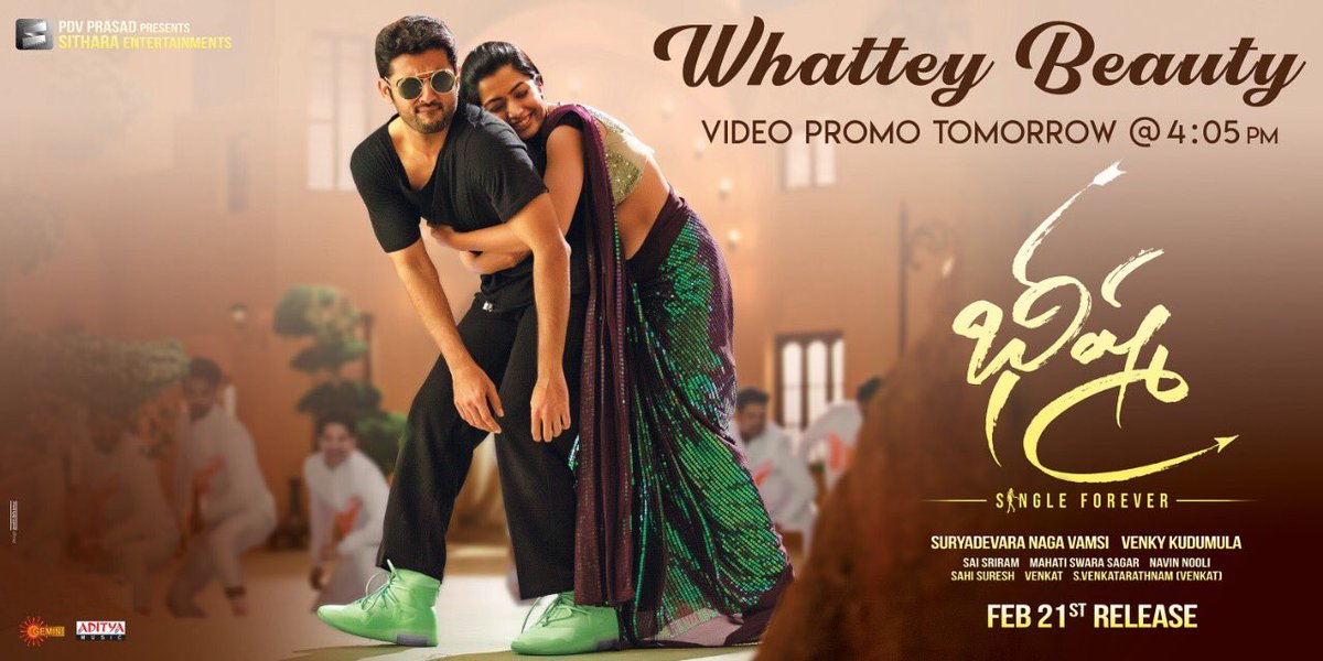 Video promo of Mass dance number WHATTEY BEAUTY wil b out TOM at 4.05 p.m  ⁦@VenkyKudumula⁩ ⁦@iamRashmika⁩ ⁦@vamsi84⁩ ⁦@SitharaEnts⁩ ⁦@AlwaysJani⁩