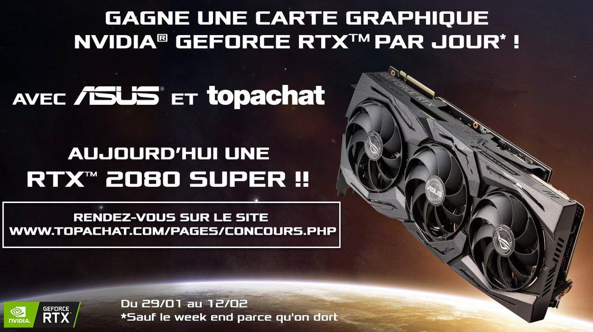 🎁#Concours 🎁  Gagne une carte graphique Nvidia RTX par jour ! 😱🔥  On enchaine avec la puissante RTX 2080 SUPER ROG STRIX !  Pour participer, RDV ici ⬇   🍀Tirage au sort le 03/02 à 11h30