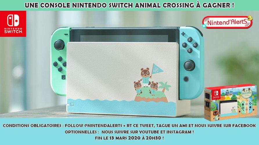 #Concours : Une console Nintendo Switch édition spéciale #AnimalCrossingNewHorizons à gagner !  Follow @nintendalerts + RT ce tweet, tague un ami et nous suivre sur Facebook ! Fin le 13 mars à 20h30. Conditions pour participer au concours ►