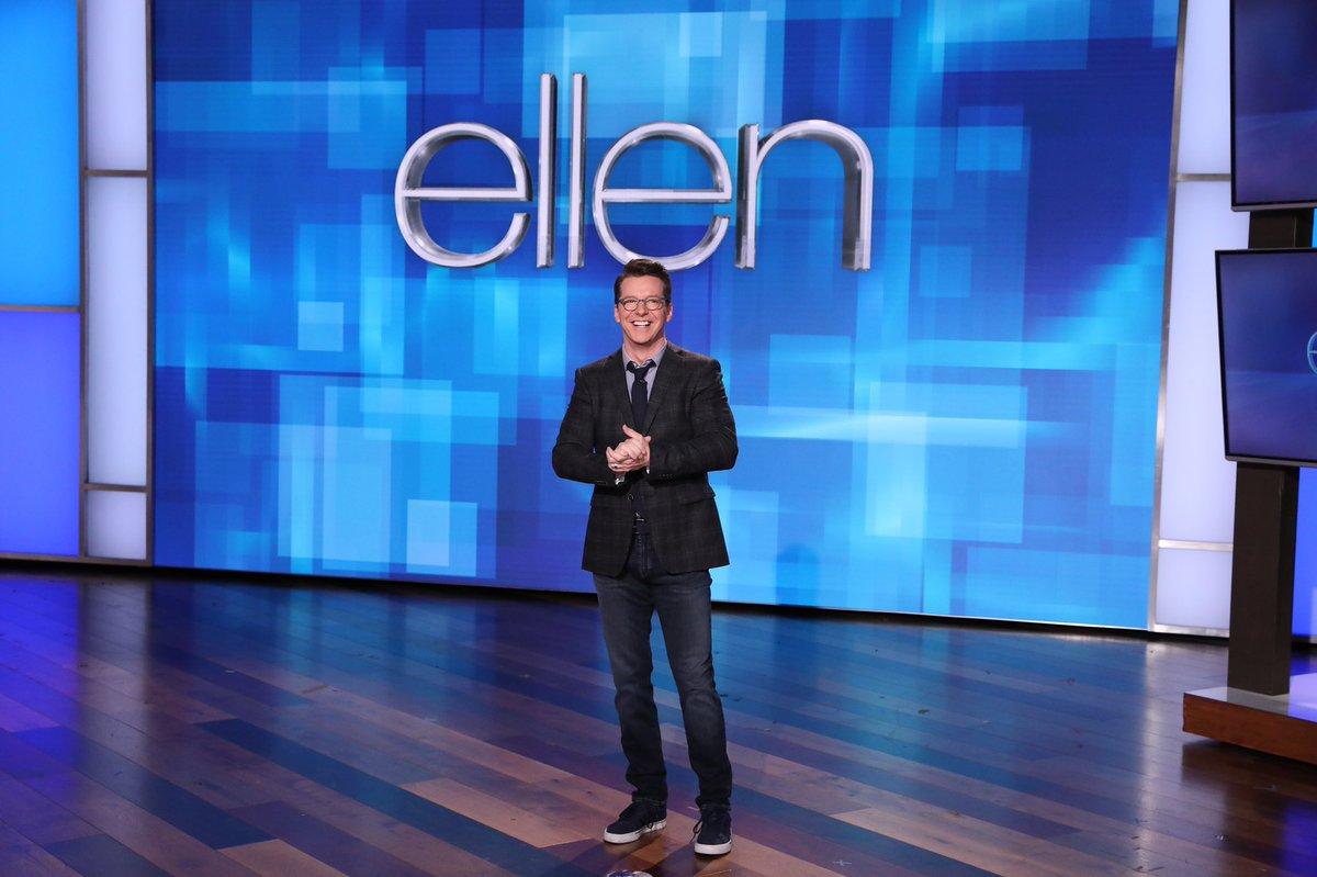 "Here are some super cute stills from my hosting duties on today's ""Ellen"". #Ellen📸: Michael Rozman/Warner Bros."