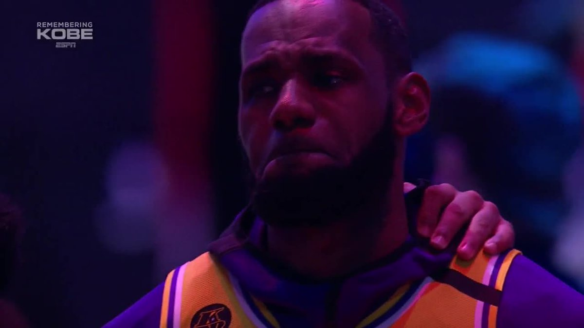 LeBron moved by the Lakers tribute to Kobe Bryant.