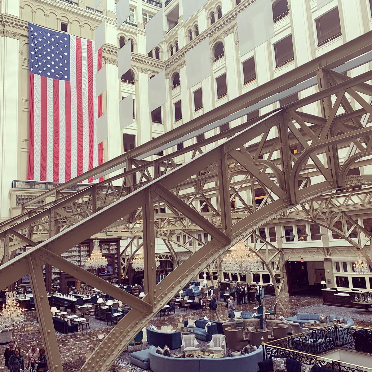 Ramping up activity in America's Living Room...A busy Saturday ahead...#trump #luxury #luxuryhotels #success #neversettle #architecture #design #flag #USA