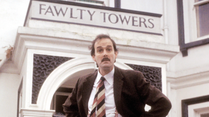 "Not being a football guy, #NowWatching Fawlty Towers with @JohnCleese ""You'll like it here!"""