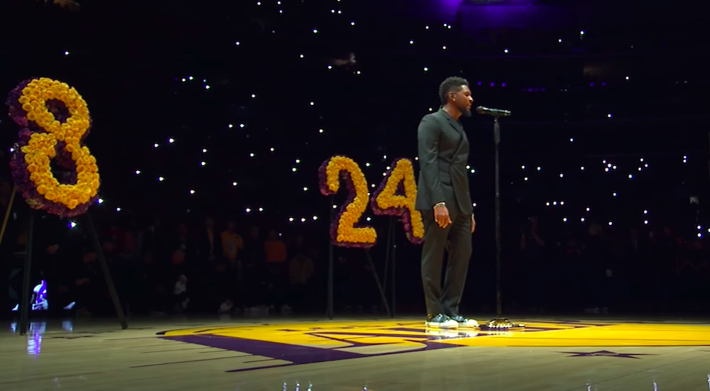Watch @KingJames, @Usher, and @BoyzIIMen pay tribute to Kobe Bryant at The Lakers' touching pre-game ceremony: