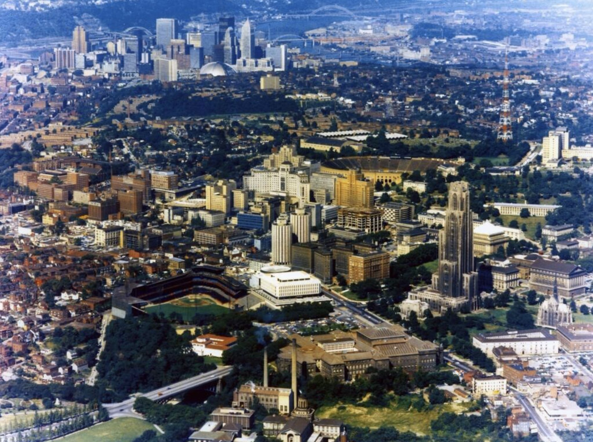 The most amazing late 1960s shot of Forbes Field, U of PITT, and Pittsburgh you will ever see. https://t.co/ThRROzr5H0