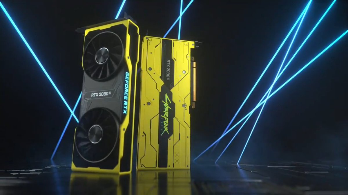 Introducing the GeForce RTX 2080 Ti Cyberpunk 2077 Edition.   We made 77 for our community.  Want one? Here's how: 1. RT this video. 2. Tag a gamer who is as excited as you about Cyberpunk 2077 in the replies with #RTXOn 3. If selected, you BOTH win these limited edition GPUs!