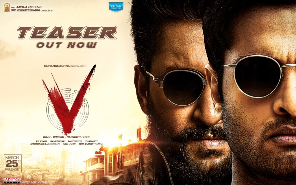 #VTeaser is out! It's a face off between a cop and a criminal. Who is going to win??  The tone of the film is very different for a Telugu cinema. Hoping for an edge of the seat action thriller this Ugadi!! 👍  @NameisNani @isudheerbabu @mokris_1772
