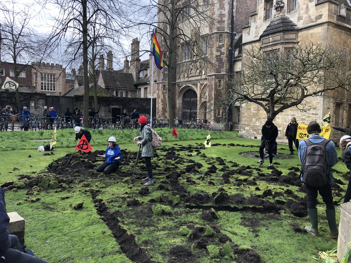 XR activists dig up lawn outside Trinity College in protest over development - photo  @cambfoodtour