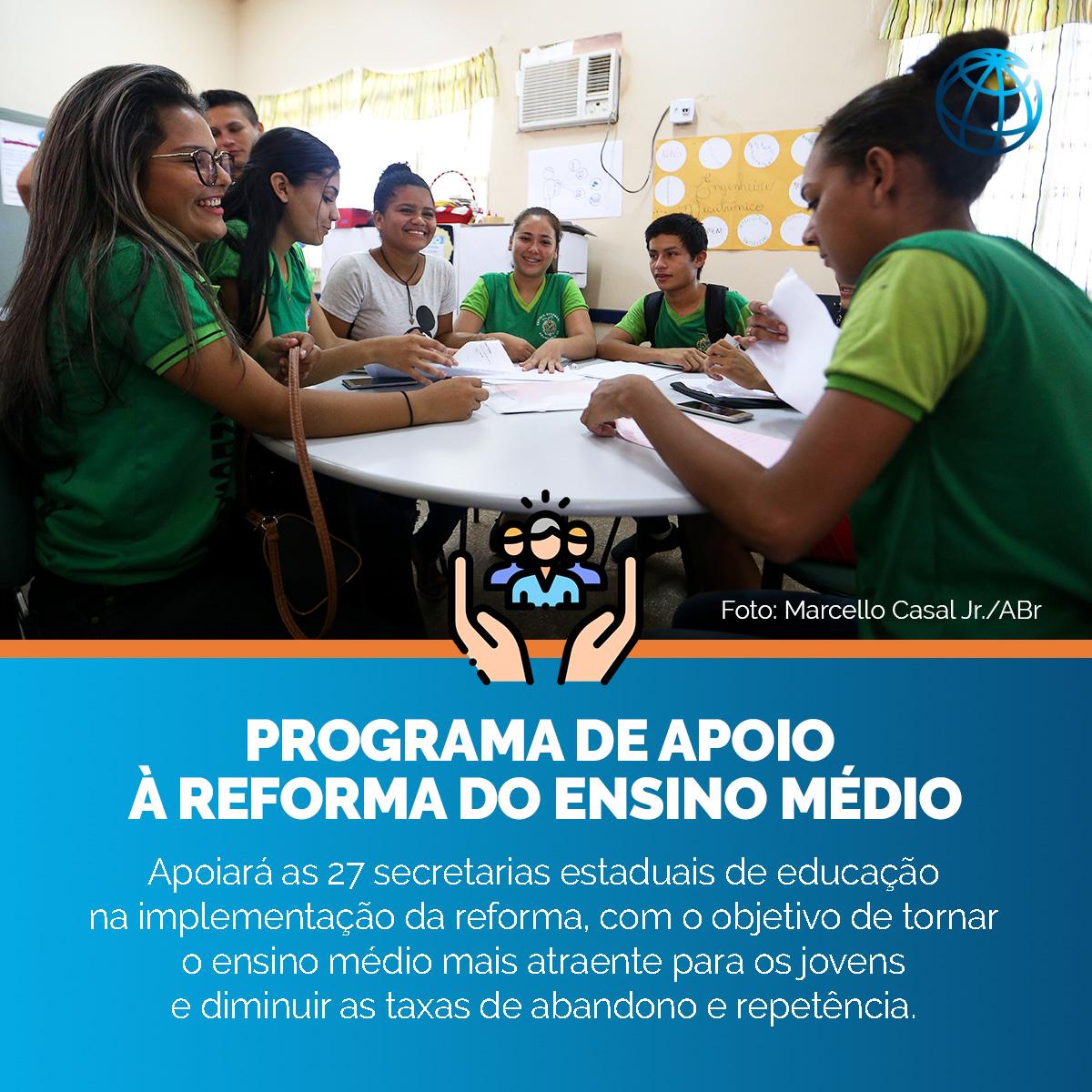 A Reforma do Ensino Médio tem o objetivo de tornar o ensino médio mais relevante para os jovens brasileiros, o que ajudará o país a construir um crescimento econômico sustentável. Saiba mais sobre o apoio do Banco Mundial a essa iniciativa  @MEC_Comunicacao