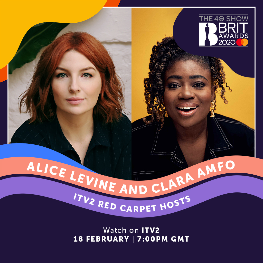 Everyone's fave duo @AliceLevine + @claraamfo are BACK to host the ITV2 #BRITs red carpet!  Don't miss all of the celeb interviews on Tuesday 18 February at 7pm on ITV2 🙌
