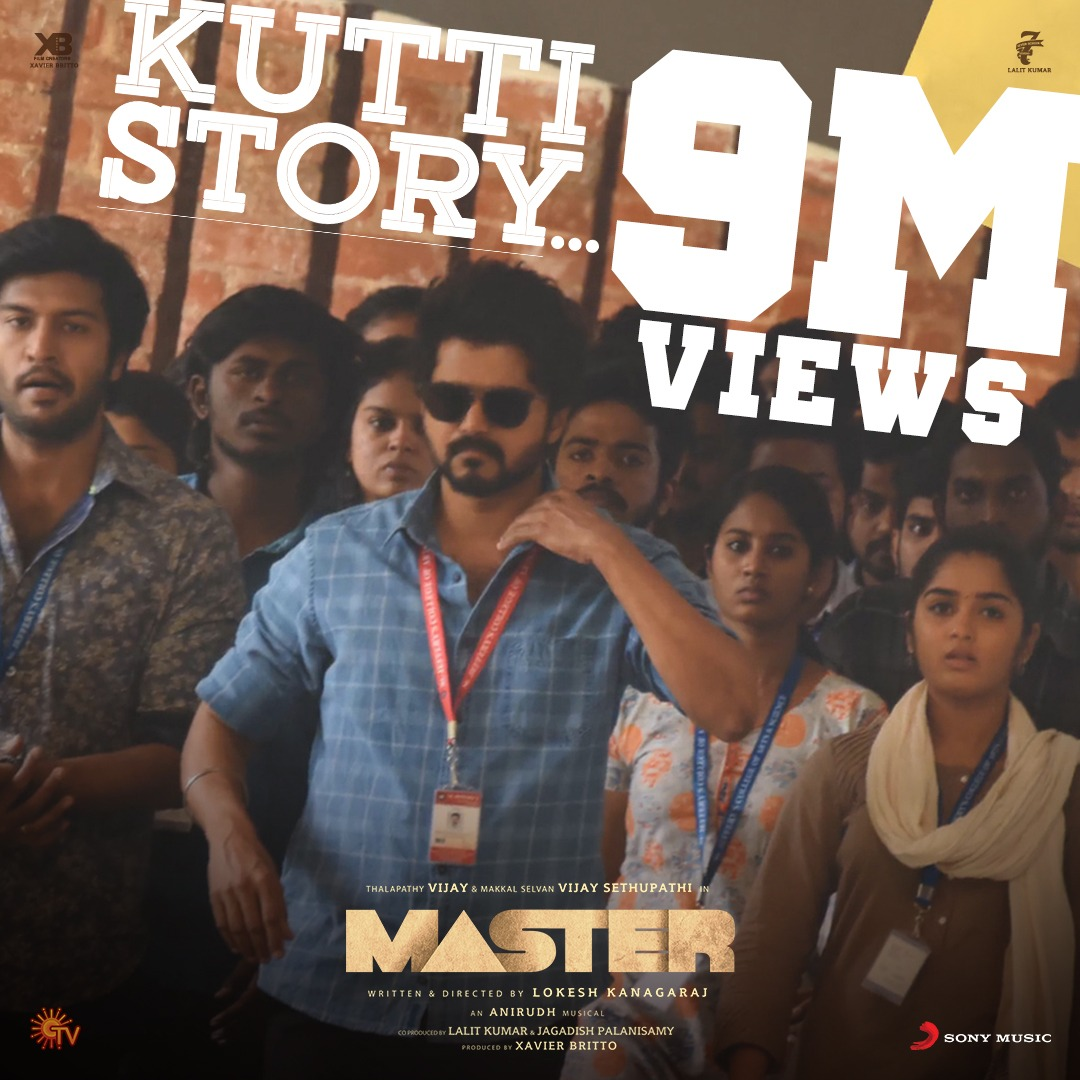 CREATING HISTORY! 🔥  9️⃣ MILLION + real-time views and 1️⃣ MILLION likes in 24 HOURS! 😎  #Thalapathy's #KuttiStory is 'Just awesome na'! Do you agree too? 🎼🥳  ➡️   @actorvijay @Jagadishbliss @anirudhofficial @Dir_Lokesh @XBFilmCreators @Arunrajakamaraj