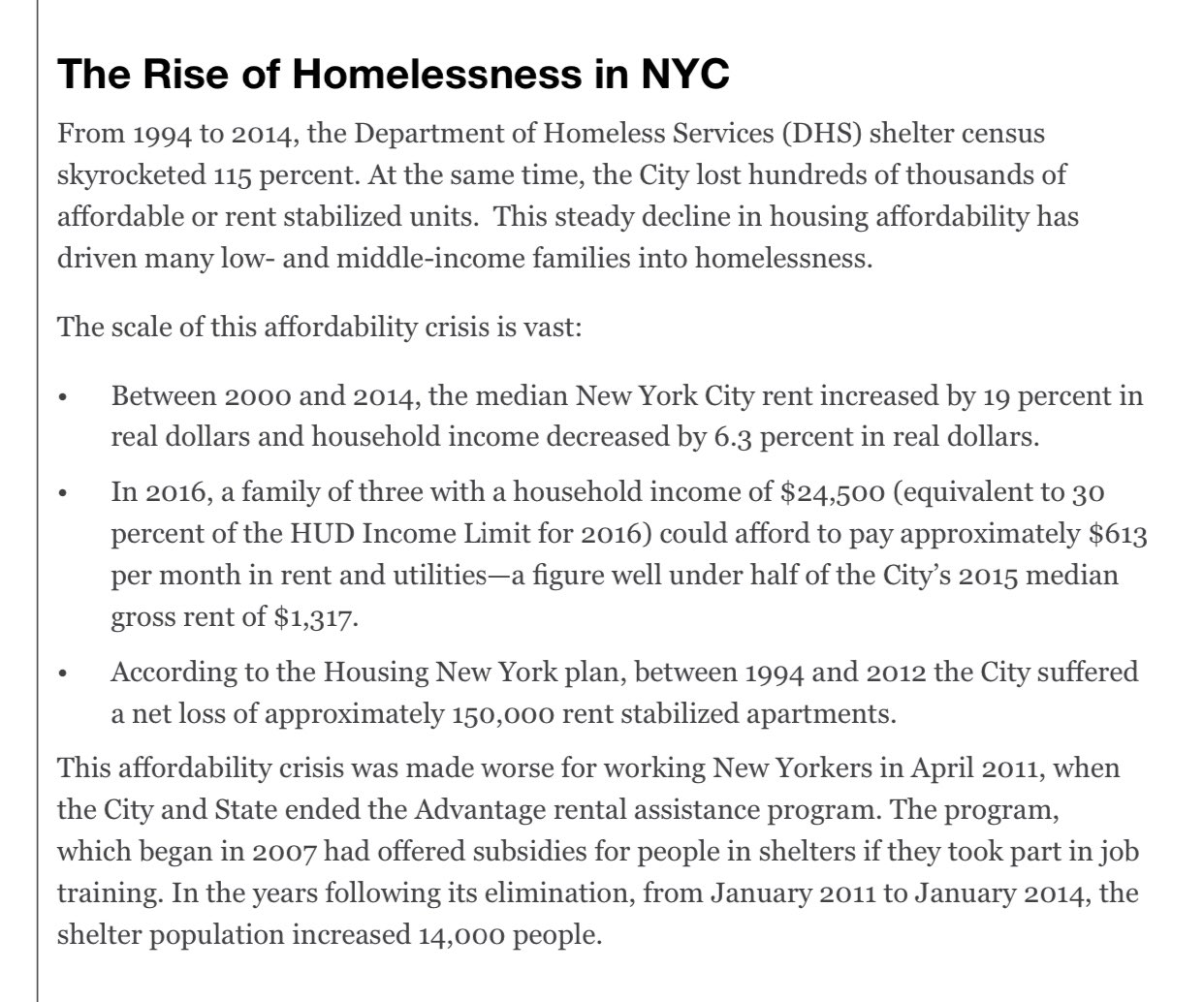 Here's what really happened under Bloomberg (wrt homelessness)  He got rid of 150,000 rent stabilized units, rent increased by 19%, household incomes decreased, and between Guilliani and Bloomberg, who focused more on making NYC a luxe tourist spot, shelter census increased 115% https://t.co/jUTMT3mLfw