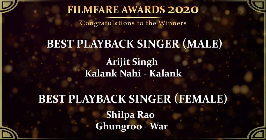 There u go Man !!! ❤️ #ArijitSingh Congrats for 5th consecutive in a row  The award for Best Playback Singer (Male) goes to #ArijitSingh for Kalank Nahi #Kalank  65th #AmazonFilmfareAwards 2020