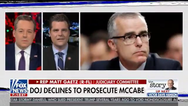 """It's a disgrace that Andrew McCabe isn't going to be behind bars.   We can't live in a world where an old FBI business card doubles as a """"get out of jail free card"""" when people break the law."""