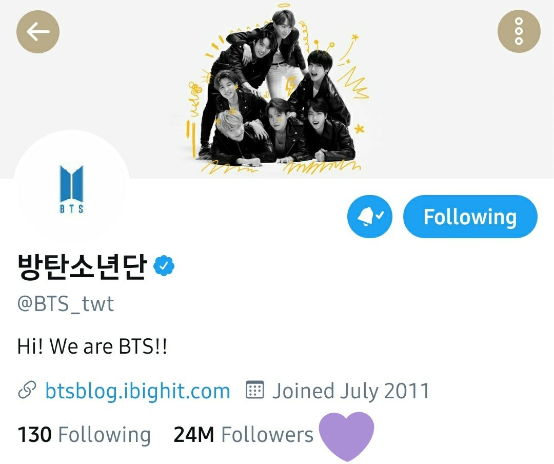 Congratulations to @BTS_twt!   They have just reached 24 Million followers on Twitter!! 🎊🎉🎊🎉  #BTS #방탄소년단 #BTS24M @BTS_twt