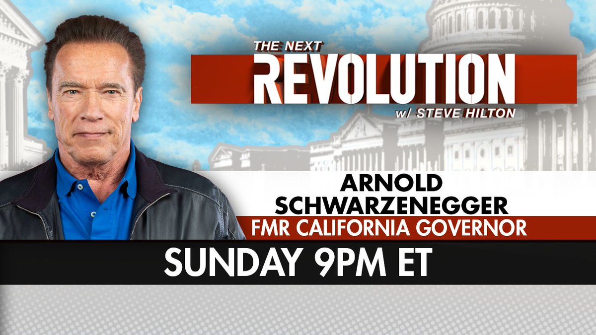 TOMORROW! See Former CA Governor and Arnold @Schwarzenegger on #NextRevFNC! Tune in at 9pm ET to catch his exclusive conversation with @SteveHiltonx -- Only on @FoxNews!
