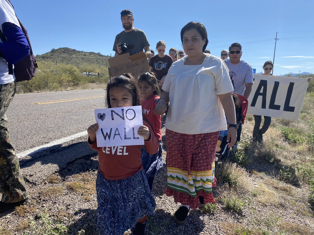 HAPPENING NOW: dozens of O'odham activists are marching to the Ajo Border Patrol Station to protest the #BorderWall's desecration of sacred sites on indigenous land.