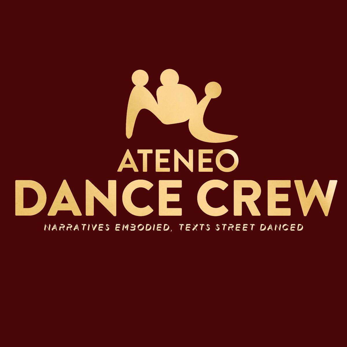 We are thrilled to reveal our logo.   Red connotes passion. It's our love and commitment to perform for the Ateneo Community, Mindanao, and the Almighty. Gold conveys innate talent. The 3 genderless figures signify the student-artists from all walks of life.   (c) @theafayelois