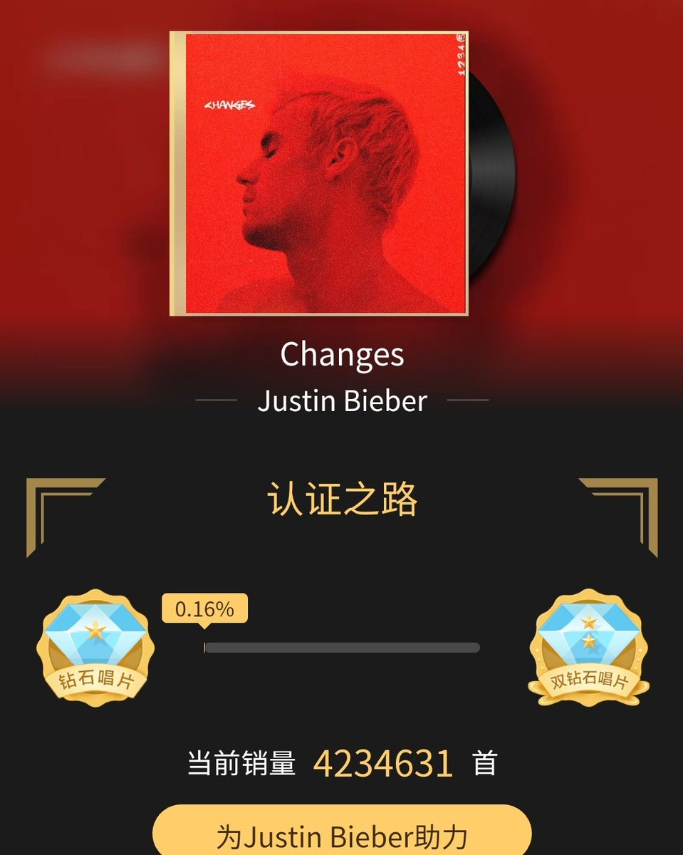 """""""Changes"""" is now certified as DIAMOND on QQ Music for selling over 4,22 million song unites. 🌟"""