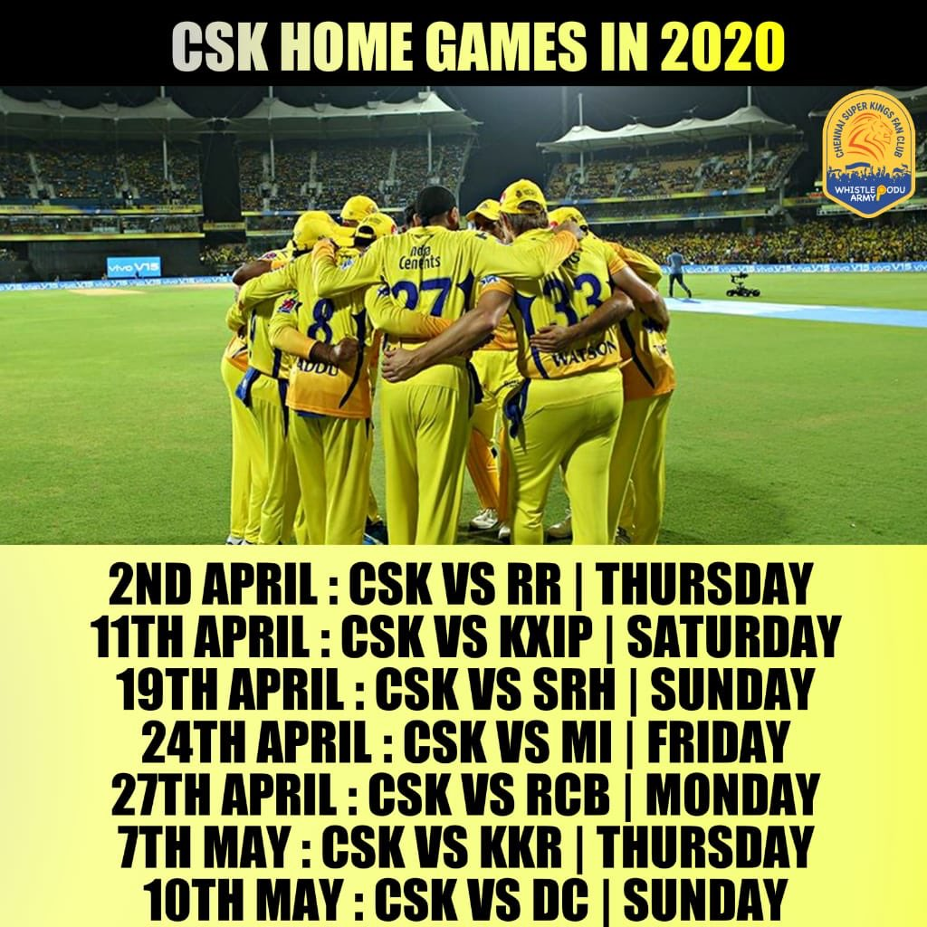.@ChennaiIPL home matches for this Summer. Let's begin the whistles!🥳  #IPl2020 #WhistlePodu #Yellove 💛🦁